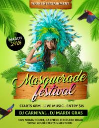 Mardi Gras Flyer, Carnival, Masquerade Pamflet (VSA Brief) template