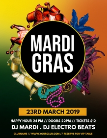 mardi gras flyer, Carnival, Masquerade Party