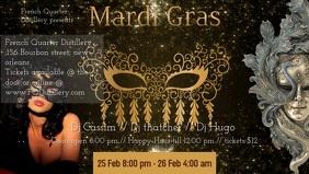 Mardi Gras flyer Facebook Cover Video (16:9) template