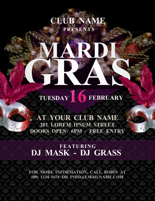 Mardi Gras Flyer Template Postermywall