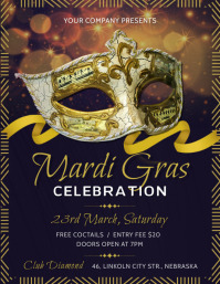 Mardi Gras flyer with a carnival mask