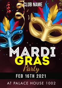 Mardi Gras flyers A3 template