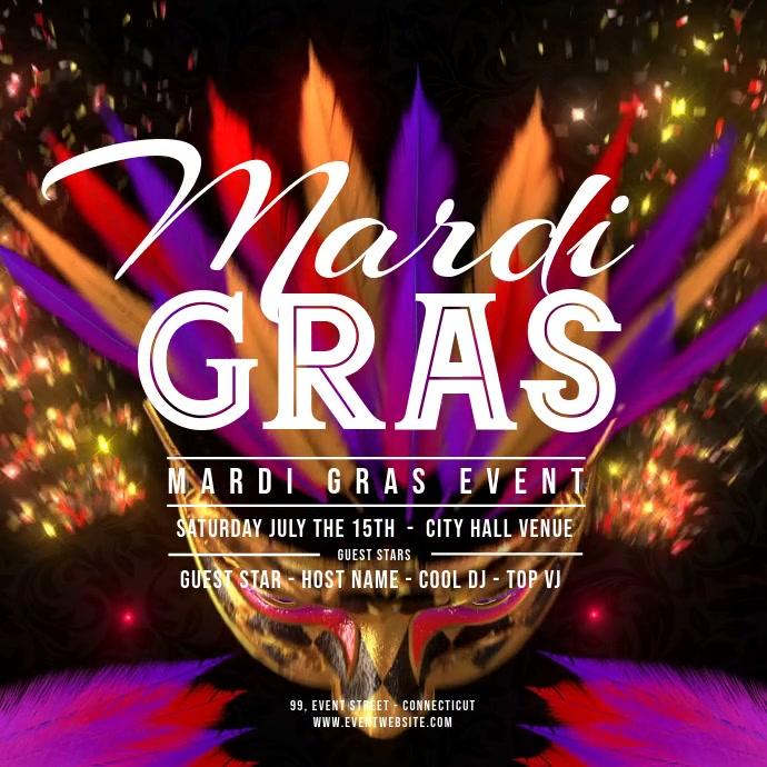 Mardi Gras - Flying Carnaval Masks 2 Square (1:1) template