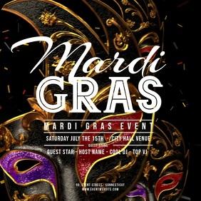 Mardi Gras - Flying Carnaval Masks 方形(1:1) template