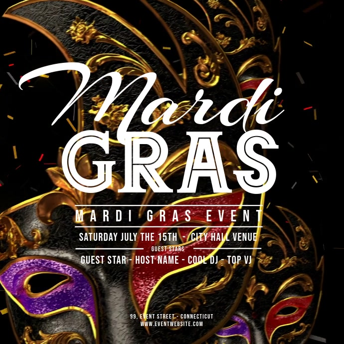 Mardi Gras - Flying Carnaval Masks Square (1:1) template