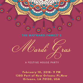Mardi Gras House Party Instagram Template