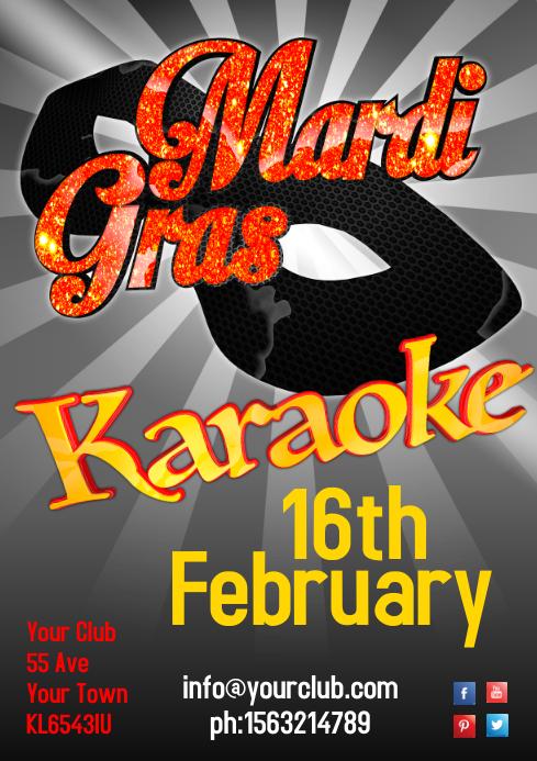 Mardi Gras Karaoke Poster