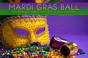 Mardi Gras Mask Masquerade Purple Green Gold Fat Tuesday