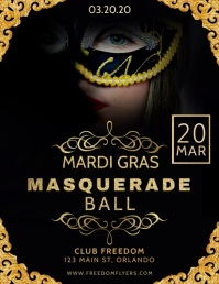 Mardi Gras Masquerade Ball Flyer Template