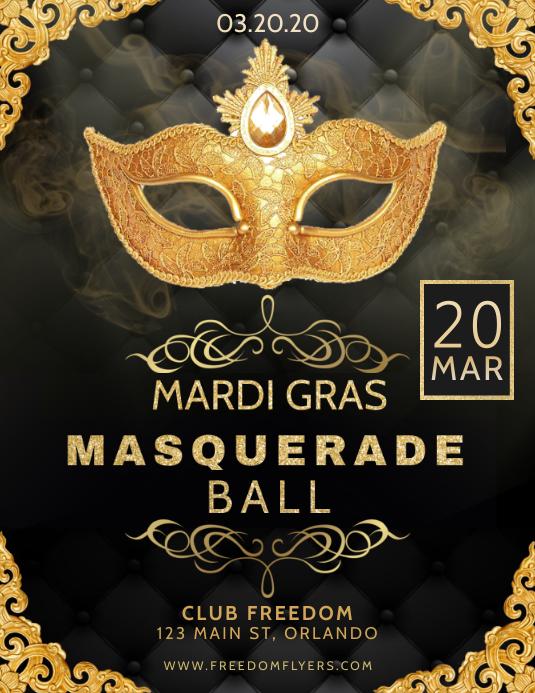 Mardi Gras Masquerade Ball Flyer Template