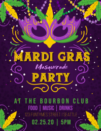 Mardi Gras Masquerade Party Flyer (US Letter) template