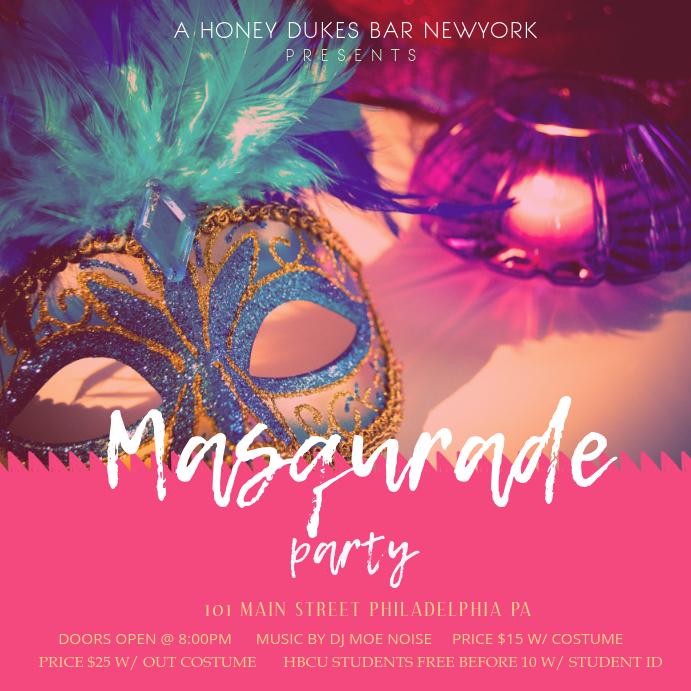Mardi Gras Masquerade Party Invitation Template