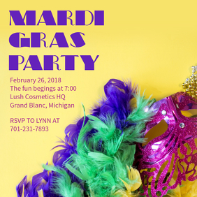 Mardi Gras Masquerade Party Template