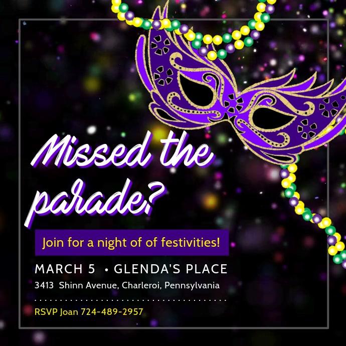 Mardi Gras Parade and Party Invitation Square (1:1) template