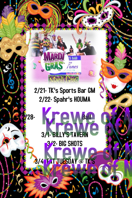 Mardi Gras Parade Ball Event Schedule Flyer
