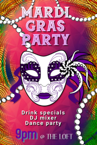 Mardi gras Party Club Poster Template