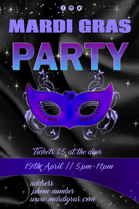 Mardi Gras Party Póster template