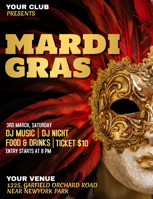 Mardi Gras Party flyer, Carnival, Masquerade Party