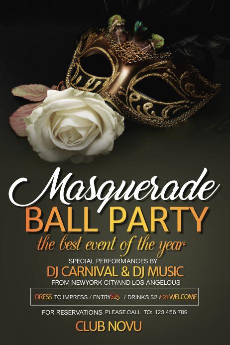 Mardi Gras Party flyer, celebration, carnival, Masquerade