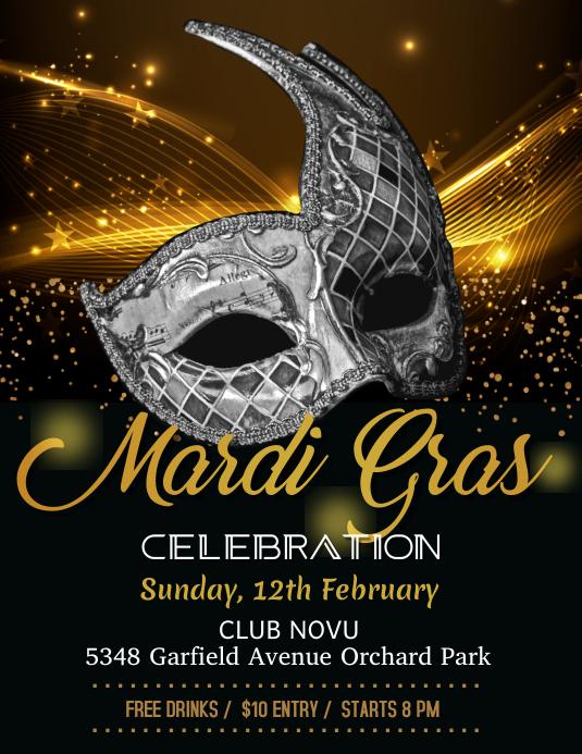 Mardi Gras Party flyer, celebration, carnival festival