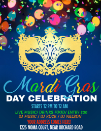 Mardi Gras Party flyer, celebration