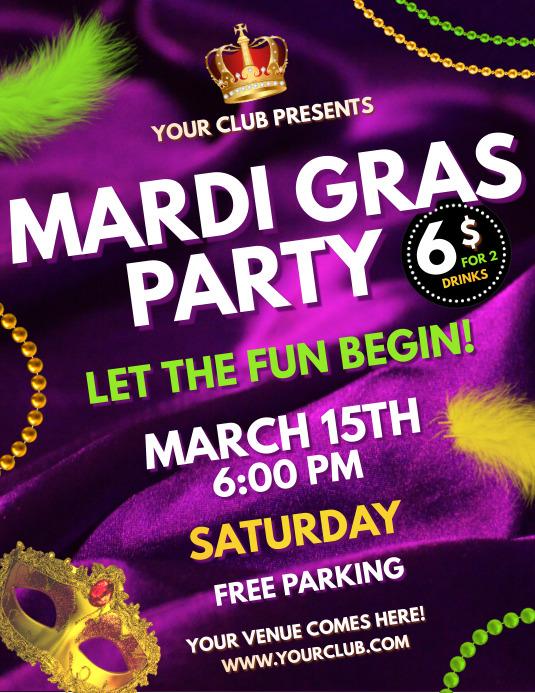 Mardi Gras Party flyer, celebration