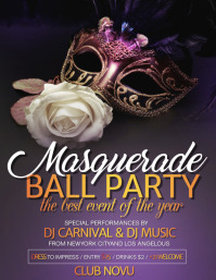 Mardi Gras Party flyer, Masquerade, carnival festival