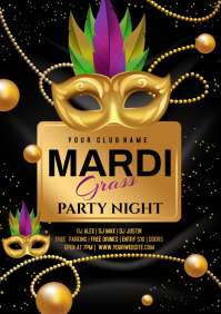 MARDI GRAS PARTY FLYER TEMPLATE A4