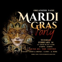 Mardi Gras Party Instagram Post Instagram-bericht template