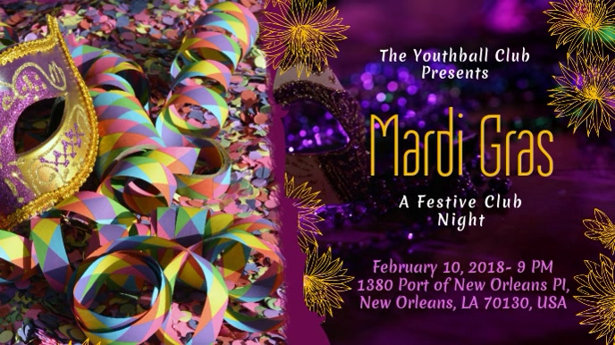 Mardi Gras Party Invitation Display Pantalla Digital (16:9) template