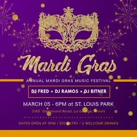 Mardi Gras Party Invitation Square Video