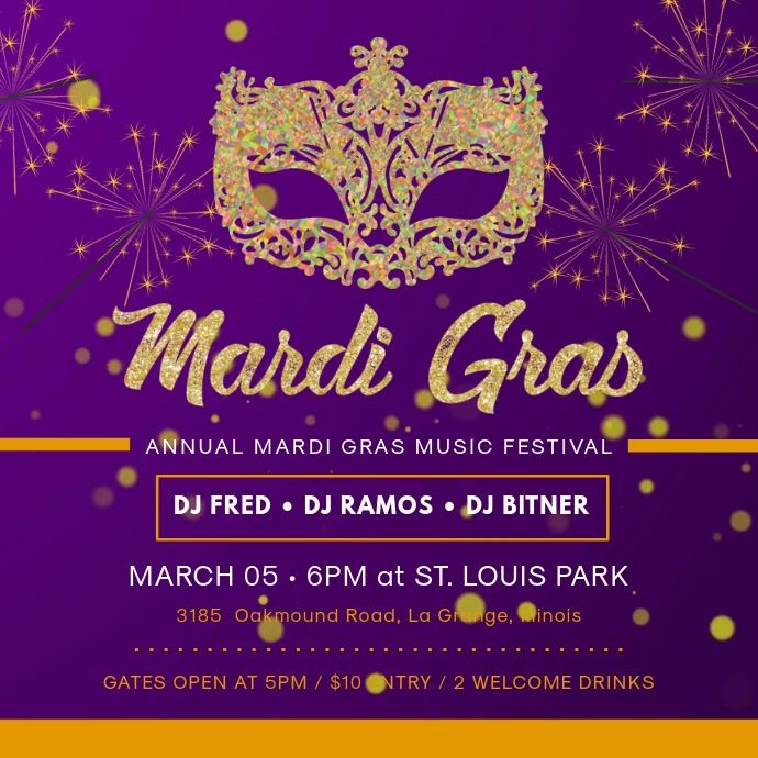 Mardi Gras Party Invitation Square Video