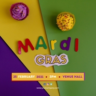 Mardi Gras Party Poster Albumcover template