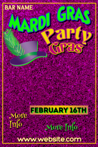 Mardi Gras Party Poster Template