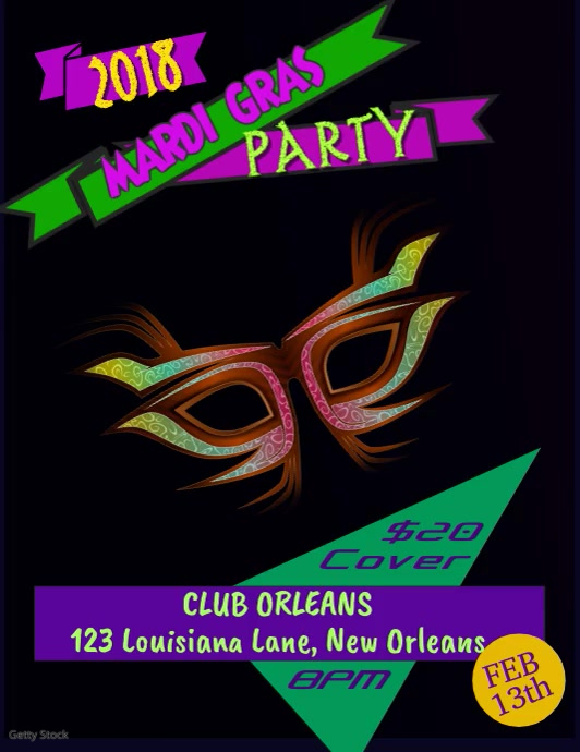 Mardi gras party video template postermywall mardi gras party video template pronofoot35fo Image collections