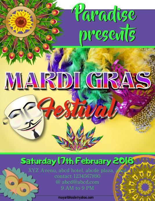 Mardi Gras Flyer (format US Letter) template