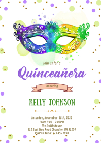 Mardi gras Quinceañera birthday invitation A6 template