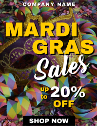 Mardi gras sales and discounts up to 20 % off