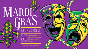 Mardi Gras Street Parade Banner Digital Display (16:9) template