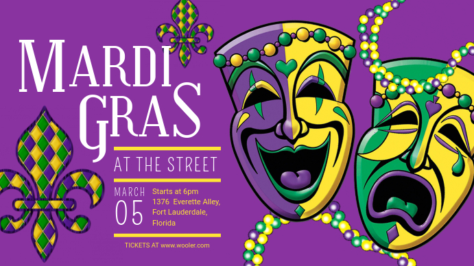 Mardi Gras Street Parade Banner Digitale display (16:9) template