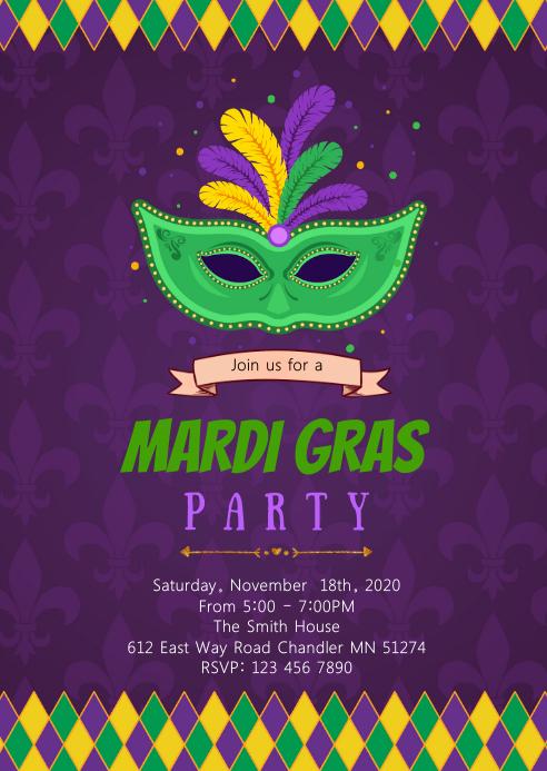 Mardi gras theme party invitation