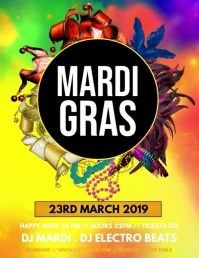 mardi gras video, Carnival, Masquerade Party Flyer (US Letter) template