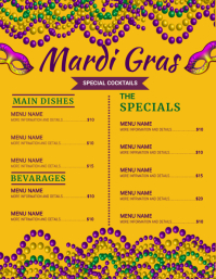mardigras , event, festival,party,menu Volante (Carta US) template