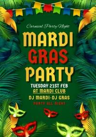 mardigras , event, festival Volante (Carta US) template