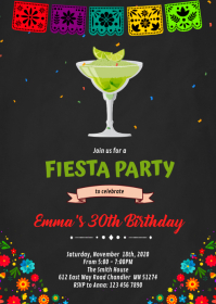 Margarita birthday invitation A6 template