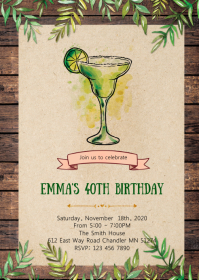 Margarita birthday party invitation A6 template