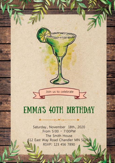 Margarita birthday party invitation A6 template