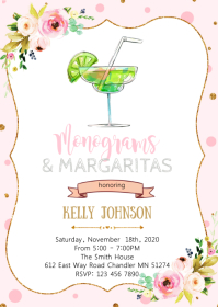 Margaritas & monograms invitation A6 template
