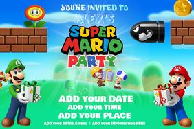 Mario Birthday Nintendo Boys Gamer Party Wii Super World