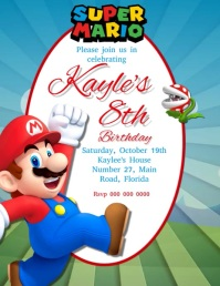 Mario Birthday Party Invitation Template